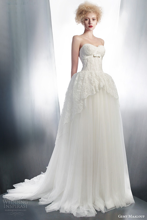 gemy maalouf 2015 bridal strapless ball gown wedding dress lace overskirt style 4147