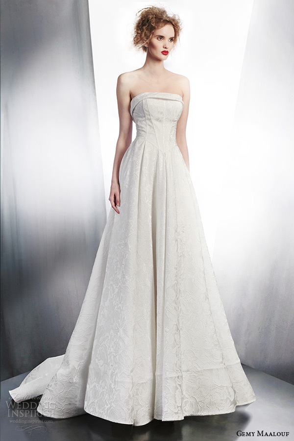 gemy maalouf 2015 bridal strapless wedding dress a line style 4150