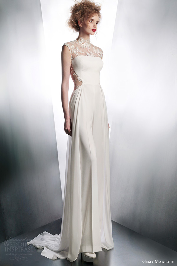 gemy maalouf 2015 illusion cap sleeve wedding dress style 4044