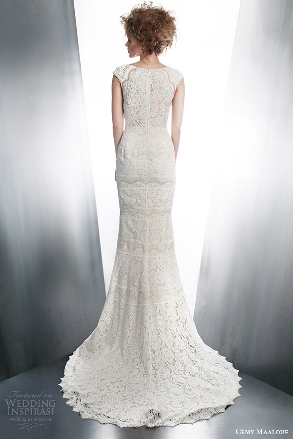 gemy maalouf bridal 2015 cap sleeve lace sheath wedding dress style 4130 back view train