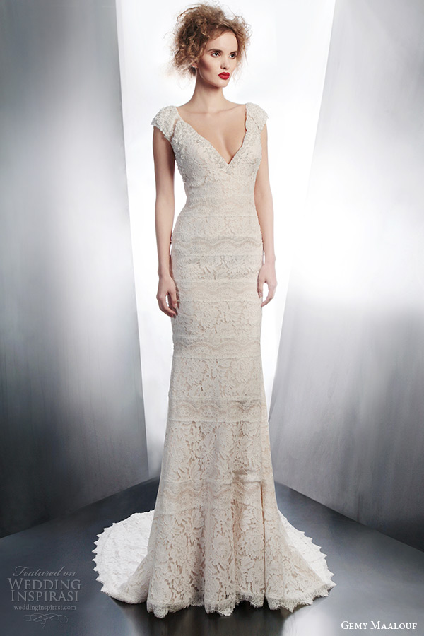 gemy maalouf bridal 2015 cap sleeve lace sheath wedding dress style 4130