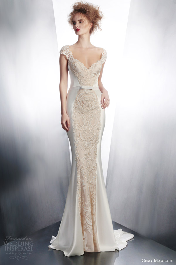 gemy maalouf bridal 2015 cap sleeve wedding dress style 4167