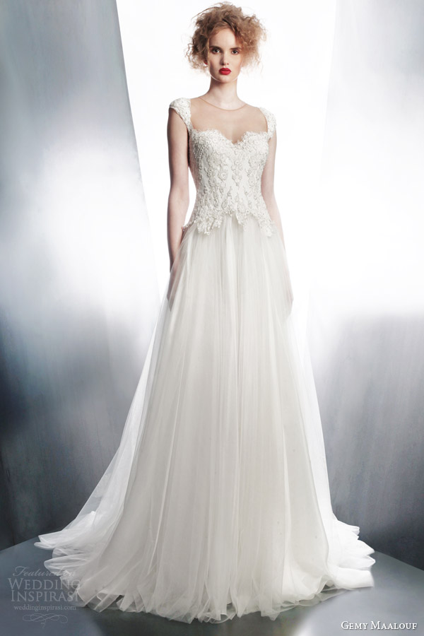 gemy maalouf bridal 2015 cap sleeve wedding dress style 4168
