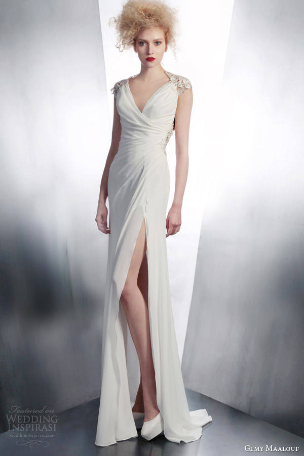 gemy maalouf bridal 2015 embellished cap sleeve wedding dress style 4181