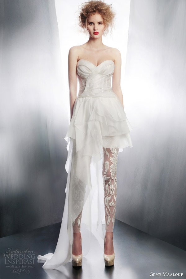 gemy maalouf bridal 2015 short to long wedding dress 4183 sheer pants 3972