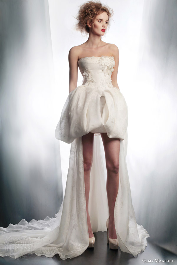 gemy maalouf bridal 2015 short to long wedding dress bubble skirt 4188