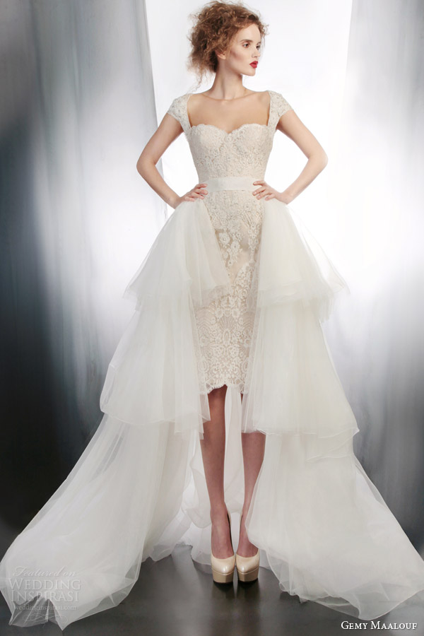 gemy maalouf bridal 2015 short wedding dress cap sleeves style 4180 4178 overskirt