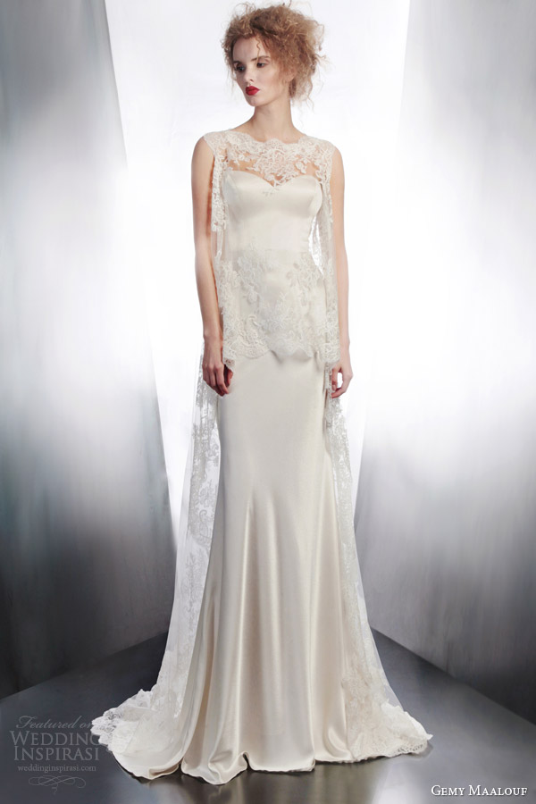 gemy maalouf bridal 2015 sleeveless gown style 4175 and 4134