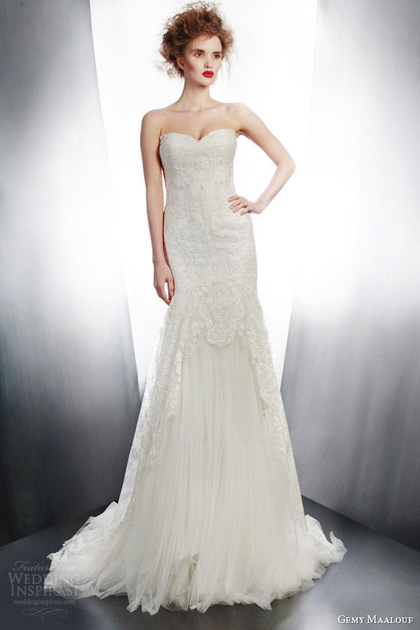 gemy maalouf bridal 2015 strapless wedding dress style 4171