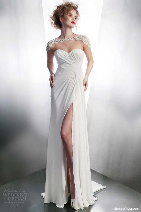 gemy maalouf bridal 2015 wedding dress style 4162 with 3945