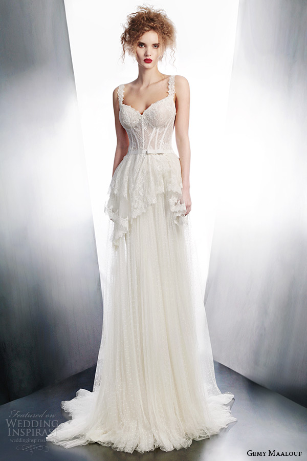 gemy maalouf bridal 2015 winter wedding dress straps peplum style 4160