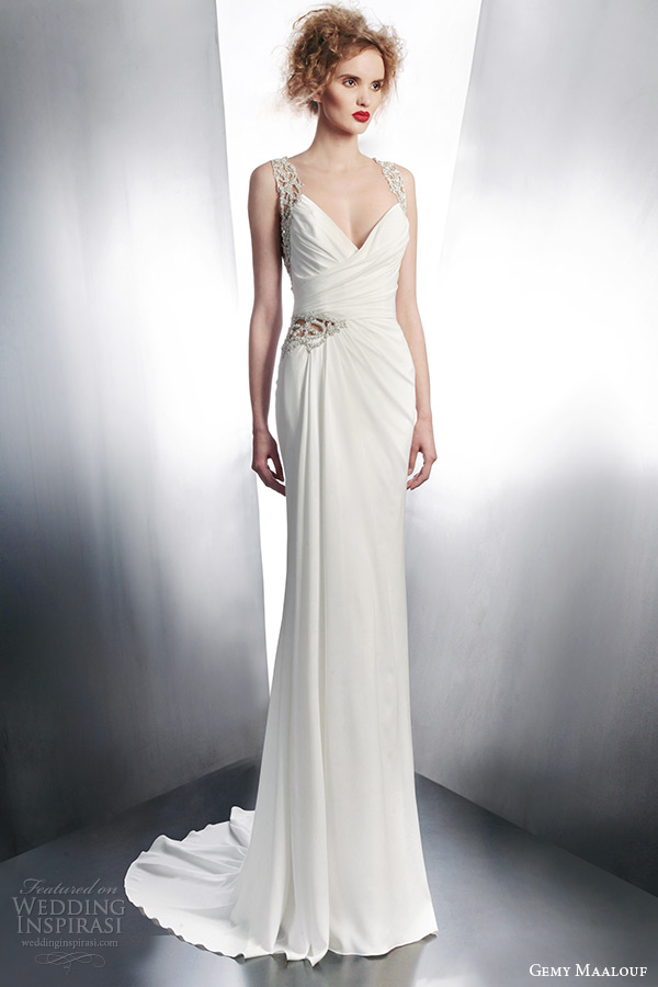 gemy maalouf bridal fall winter 2015 sleeveless draped gown with embellished straps style 4131