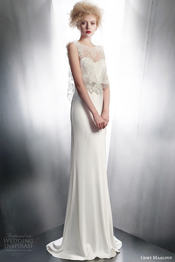 gemy maalouf bridal fall winter 2015 strapless sheath wedding dress sleeveless sheer lace top style 4141