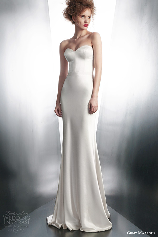 gemy maalouf bridal winter 2015 personalized strapless wedding dress style 4134