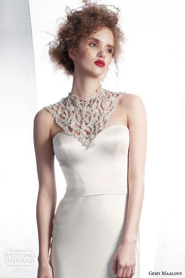 gemy maalouf bridal winter 2015 personalized wedding dress 4134 embellished neckline 4134