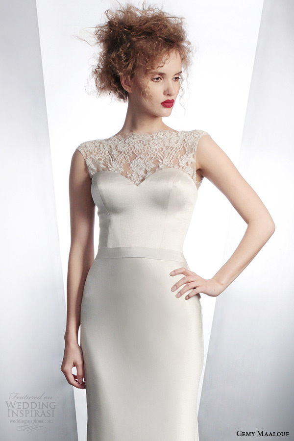 gemy maalouf bridal winter 2015 personalized wedding dress with sleeveless embellished top style 4134 4155
