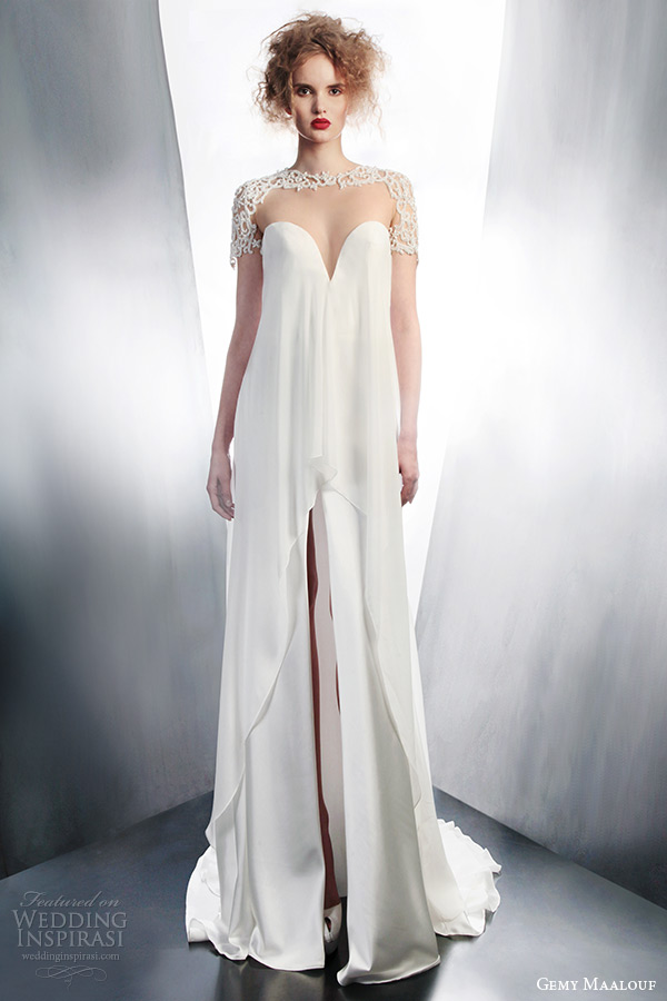 gemy maalouf bridal winter 2015 short sleeve tent wedding dress slit skirt illusion neckline 4153