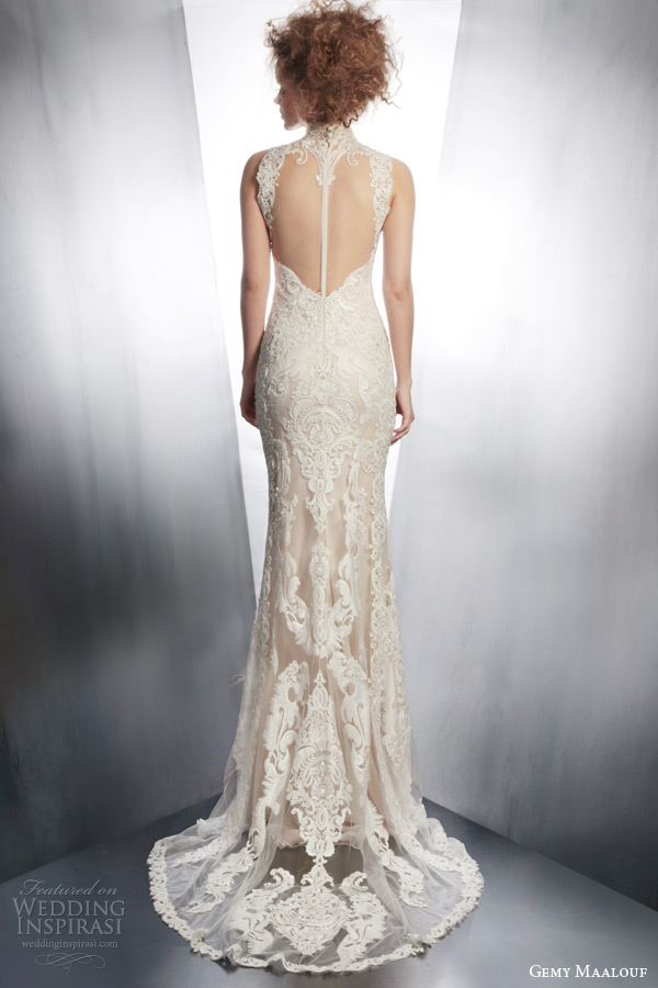 gemy maalouf bridal winter 2015 sleeveless lace wedding dress high neck illusion back view train