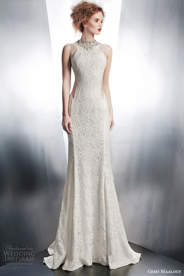 gemy maalouf bridal winter 2015 sleeveless lace wedding dress jeweled neckline style 4144