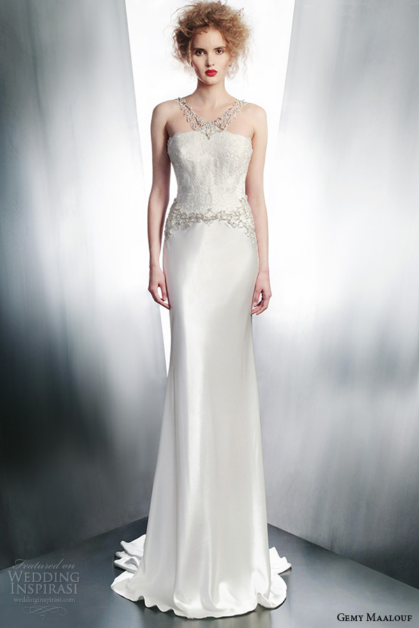 gemy maalouf bridal winter 2015 sleeveless sheath wedding dress jeweled neckline style 4148