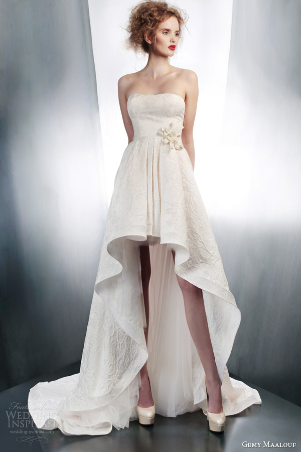 gemy maalouf couture 2015 strapless high low mullet dress 4198