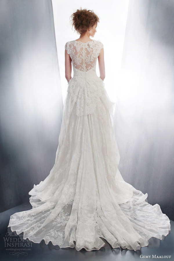 gemy maalouf couture bridal 2015 cap sleeve wedding dress 4190 back view train