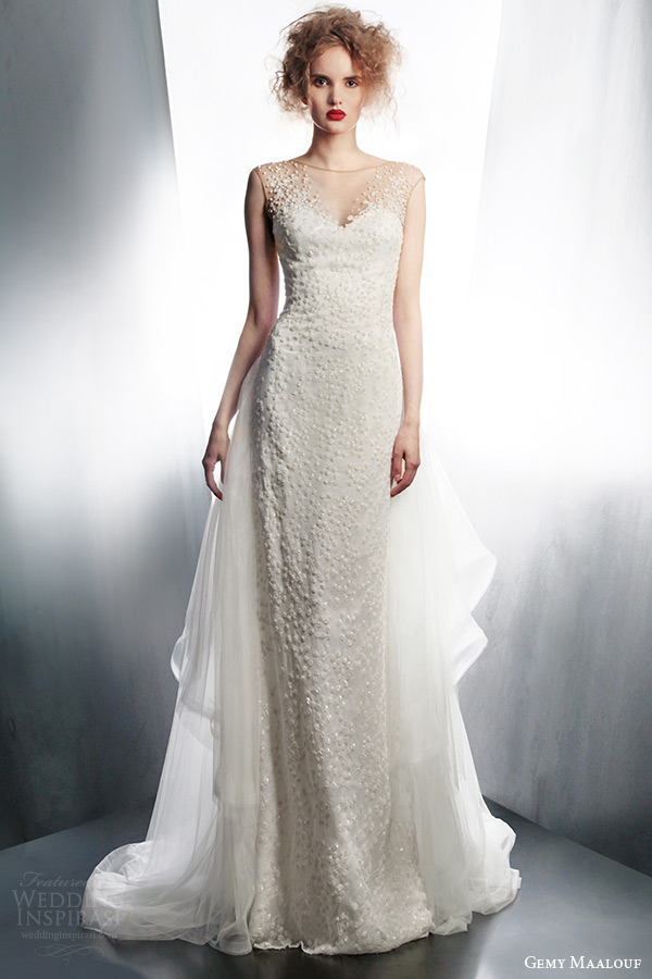 gemy maalouf couture bridal 2015 illusion cap sleeve wedding dress 3903