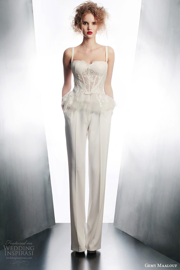 gemy maalouf couture bridal winter 2015 boned top straps style 3692 pants 4161