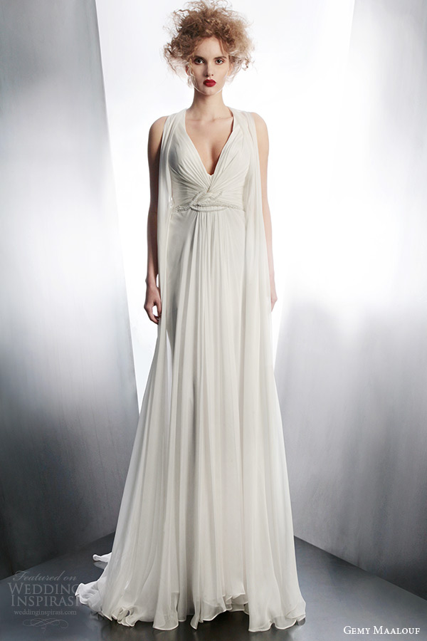 gemy maalouf couture bridal winter 2015 sleeveless draped wedding dress style 3901 front