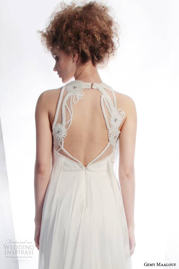 gemy maalouf couture bridal winter 2015 sleeveless draped wedding dress style 3901 unique back detail