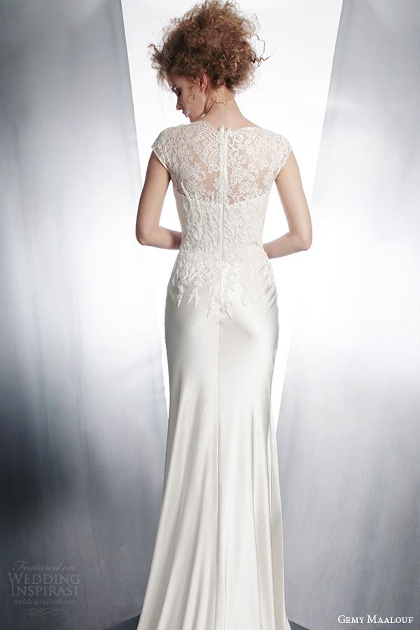 gemy maalouf couture wedding dress 2015 cap sleeve gown style 3865 illusion back
