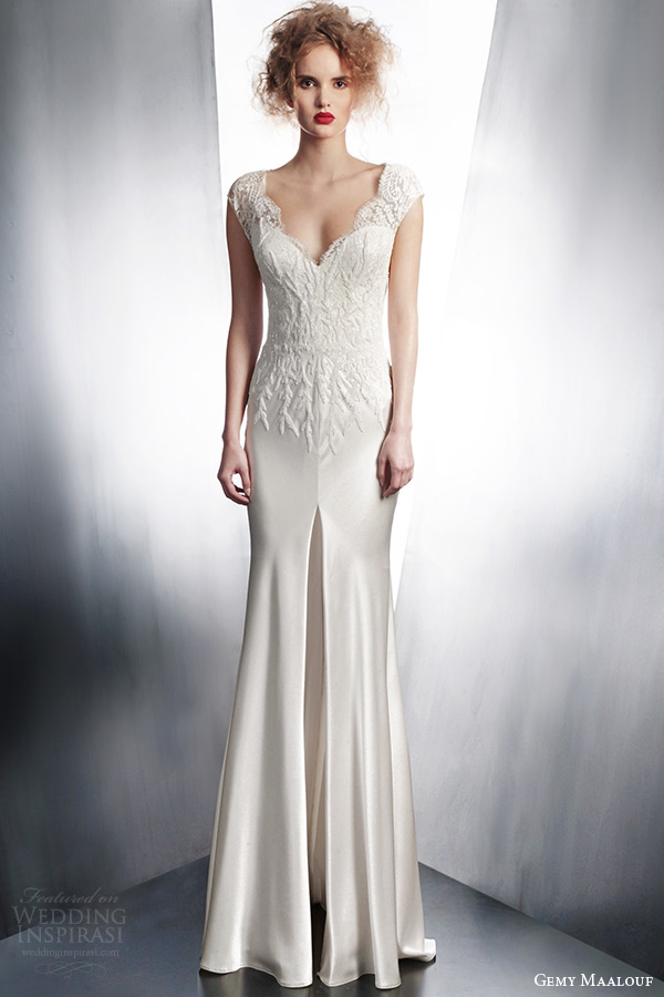 gemy maalouf couture wedding dress 2015 cap sleeve gown style 3865