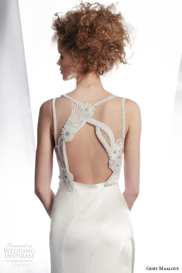 gemy maalouf couture wedding dresses winter 2015 sleeveless bridal gown style 3761 beaded illusion back detail
