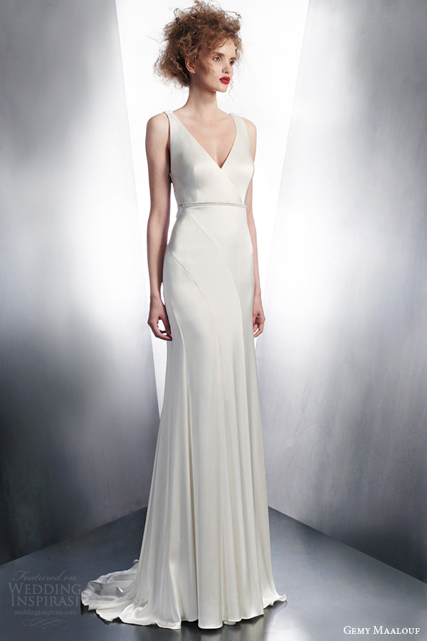 gemy maalouf couture wedding dresses winter 2015 sleeveless bridal gown style 3761