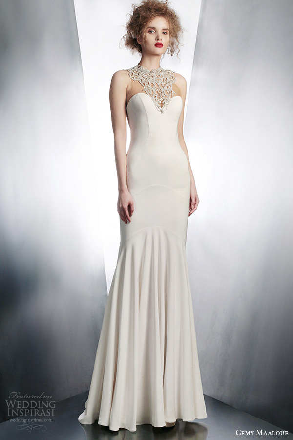 gemy maalouf fall winter 2015 bridal sleeveless wedding dress jeweled neckline style 4136