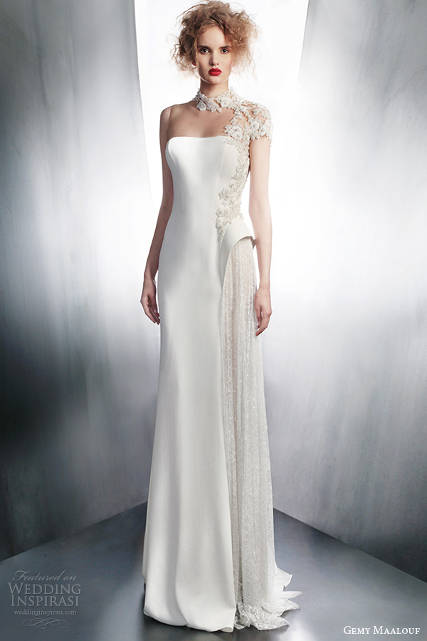 gemy maalouf fall winter 2015 bridal unique wedding dress illusion neckline style 4138