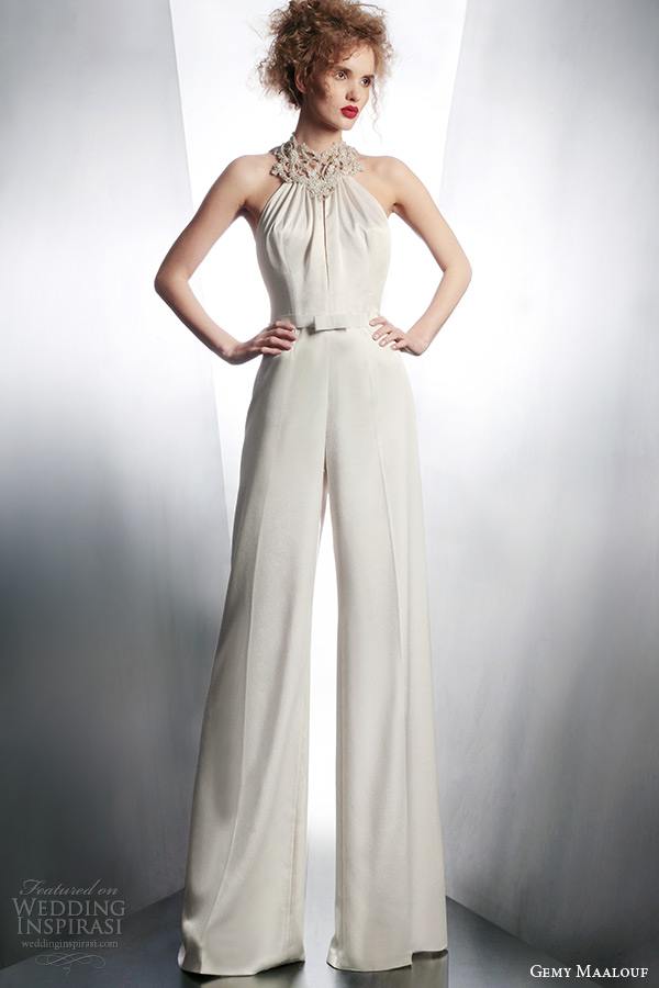 gemy maalouf wedding dreses 2015 bridal playsuit embellished neckline style 4132