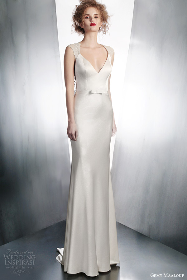 gemy maalouf wedding dreses 2015 cap sleeve gown style 4135