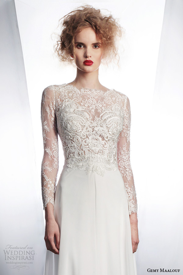 gemy maalouf wedding dress 2015 bridal separates long sleeve lace top 3954 long skirt 3042
