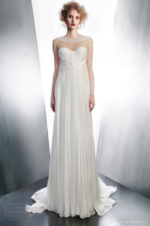 gemy maalouf wedding dress 2015 draped gown embellished neckline 4194