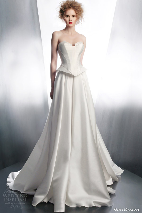 gemy maalouf wedding dress 2015 strapless top 4173 long skirt 4173