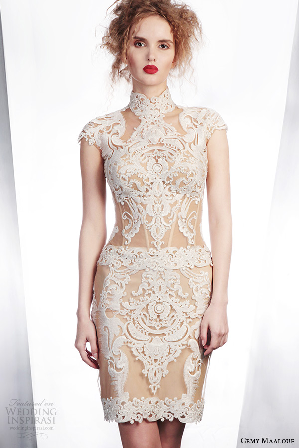 gemy maalouf wedding dress winter 2015 bridal separates 3968 cap sleeve lace top 4006 short skirt