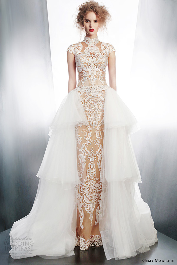 gemy maalouf wedding dress winter 2015 bridal separates 3968 top 4157 skirt 4178 overskirt