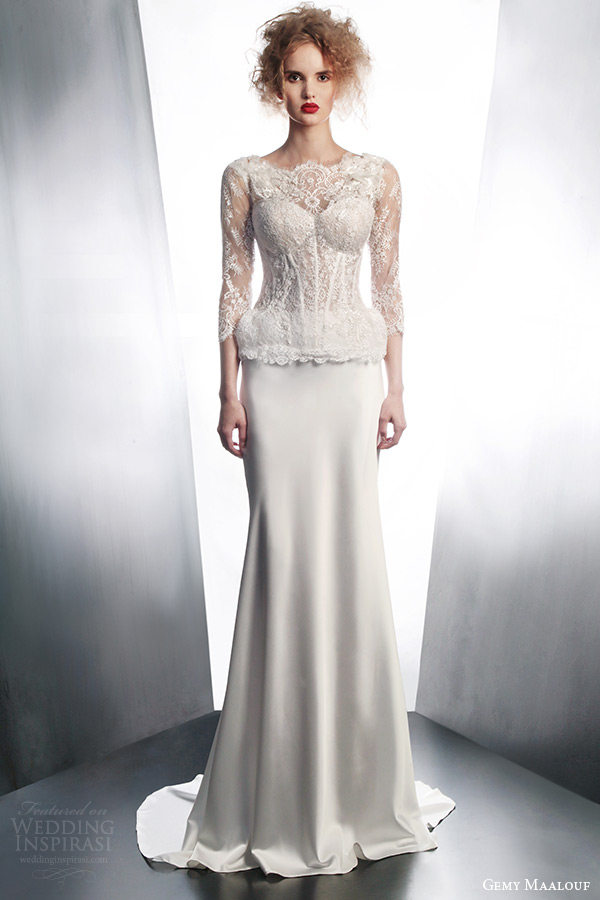 gemy maalouf wedding dresses 2015 bridal ensemble 3979 long sleeve lace top 3042 skirt