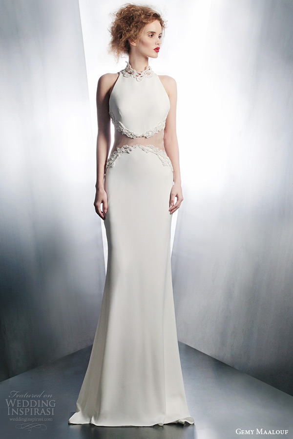gemy maalouf wedding dresses 2015 bridal gown sheer waist style 4129