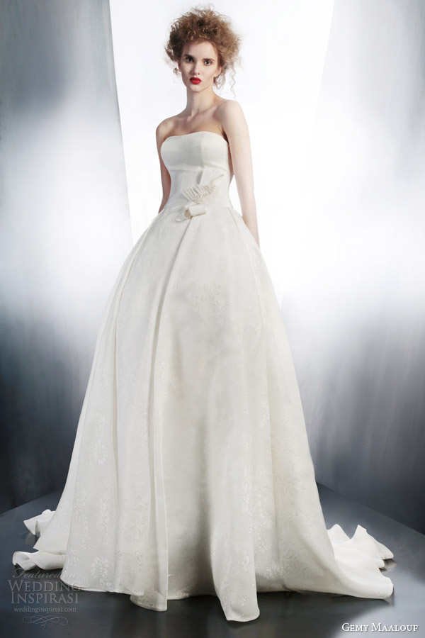 gemy maalouf wedding dresses 2015 bridal strapless ball gown style 4196