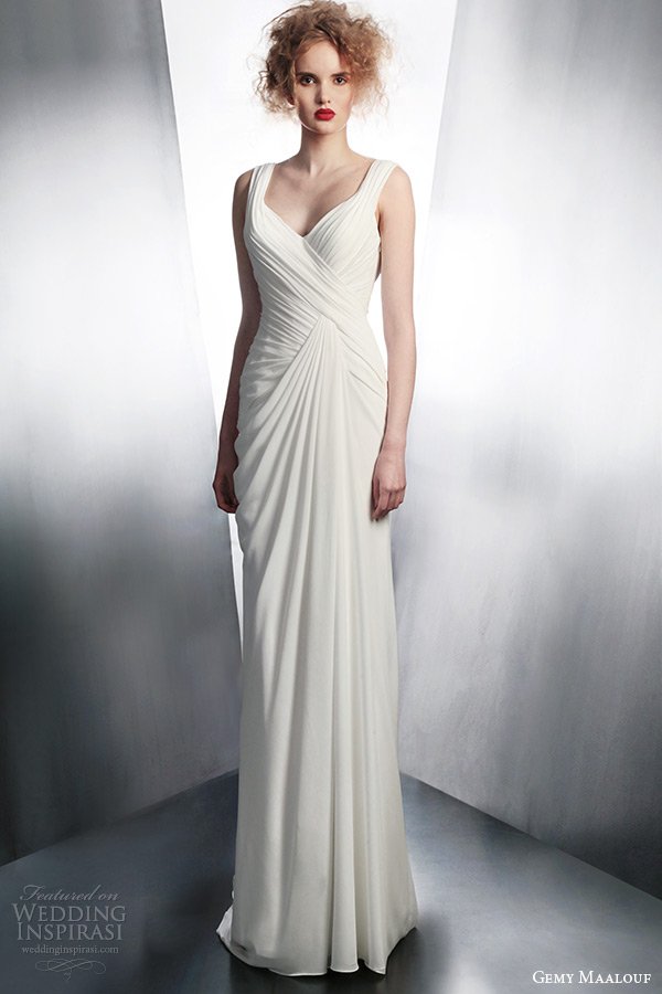 gemy maalouf wedding dresses 2015 draped bridal gown with straps style 4124