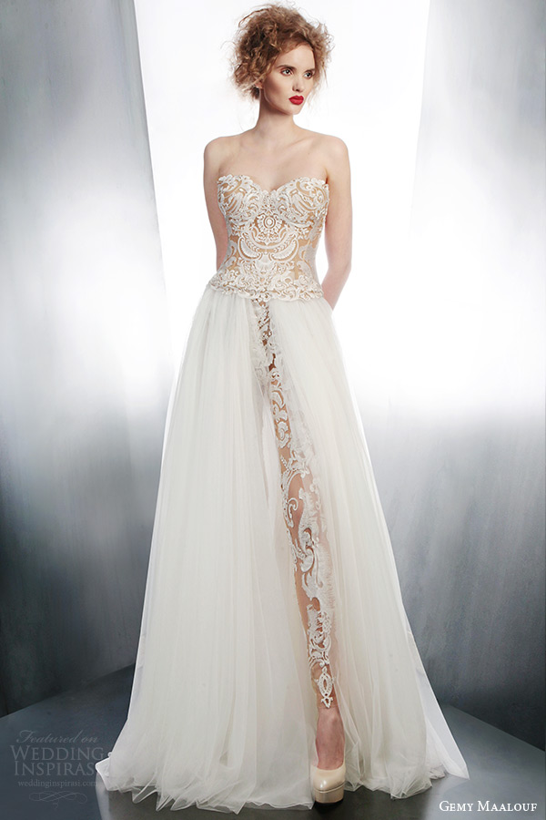 gemy maalouf wedding dresses 2015 strapless lace top pants over skirt style 4006 4152 3965