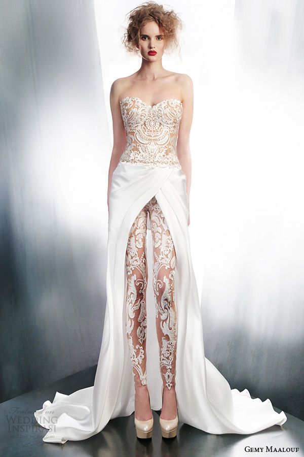 gemy maalouf wedding dresses 2015 strapless lace top pants over skirt style 4006 4179 3965