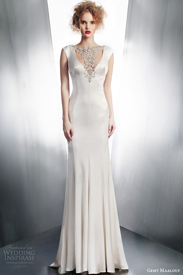 gemy maalouf winter 2015 bridal cap sleeve wedding dress with beaded neckline style 4127